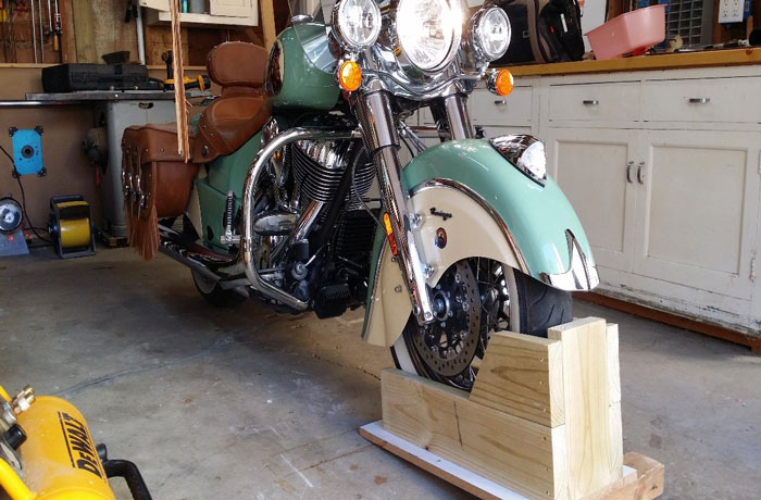 A-wooden-DIY-motorcycle-wheel-chock