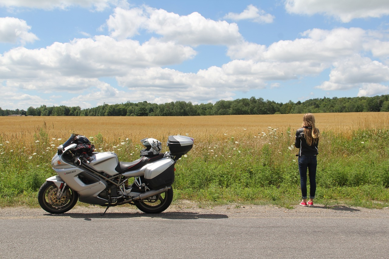 girl touring motorcycle