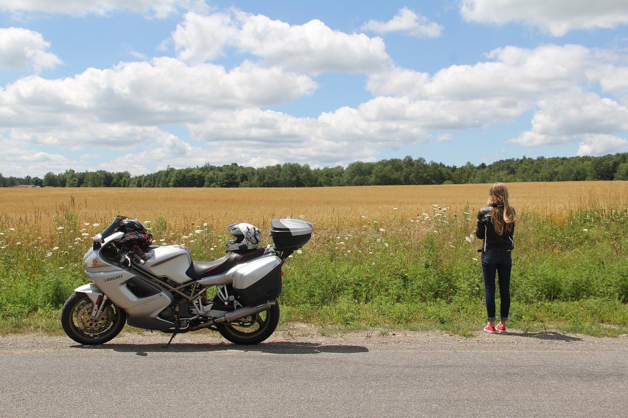 girl touring motorcycle