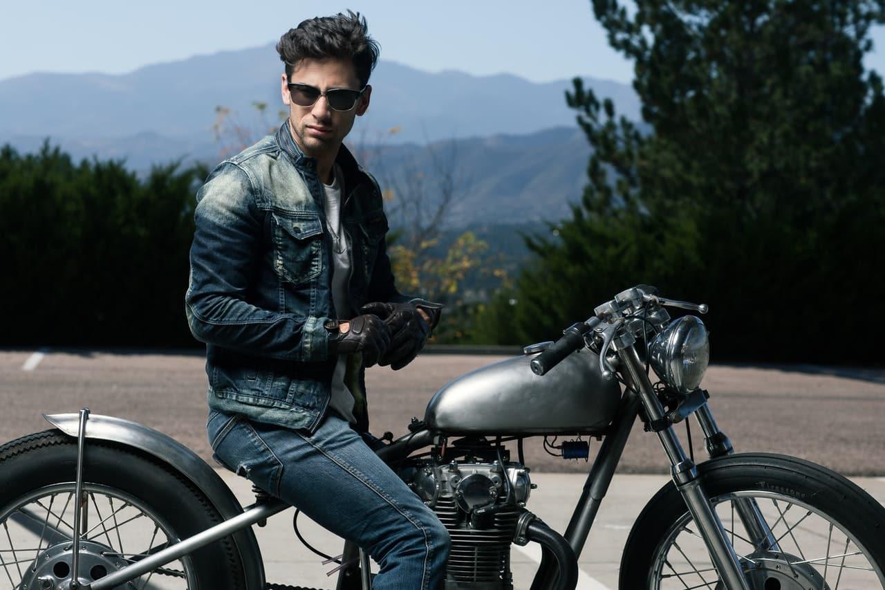 man in denim motorcycle jacket