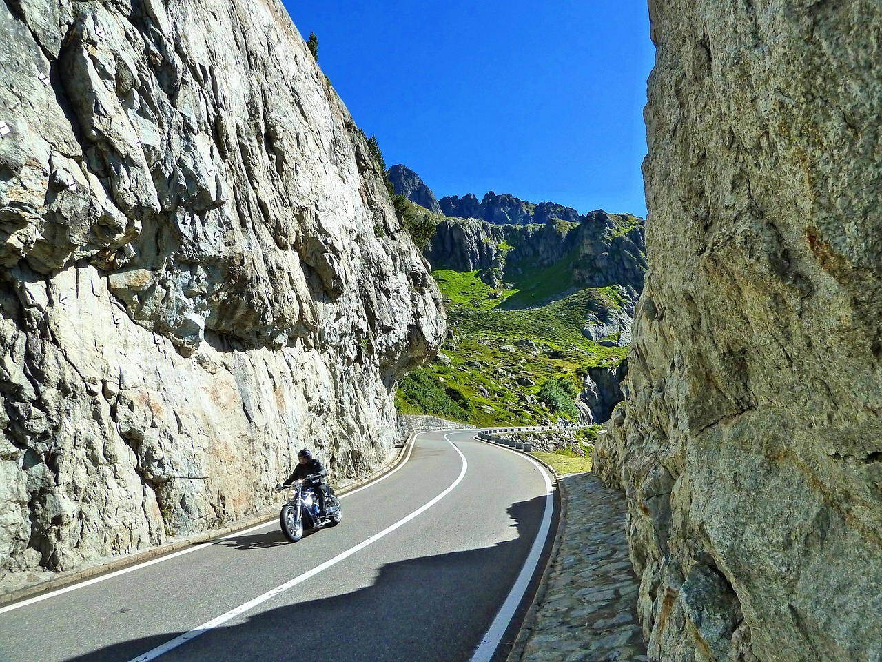 motorcycle on a mountain road