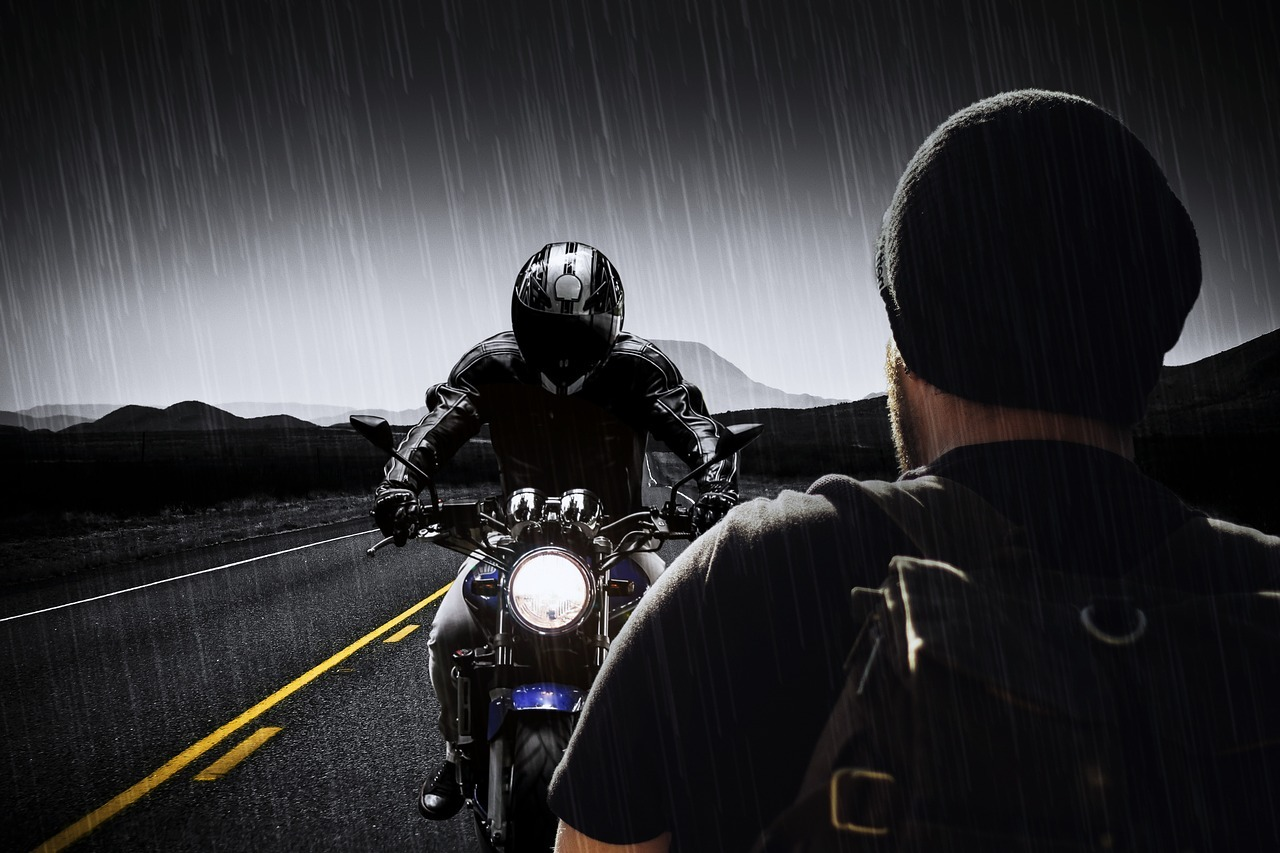 motorcycle in the rain